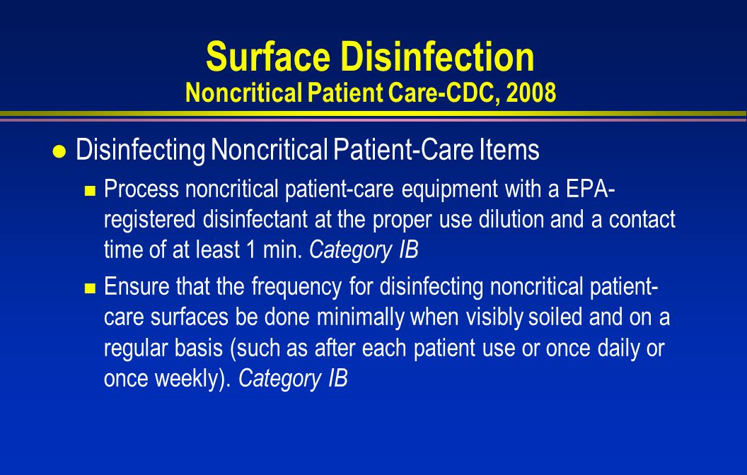 Surface Disinfection Noncritical Patient Care-CDC, 2008