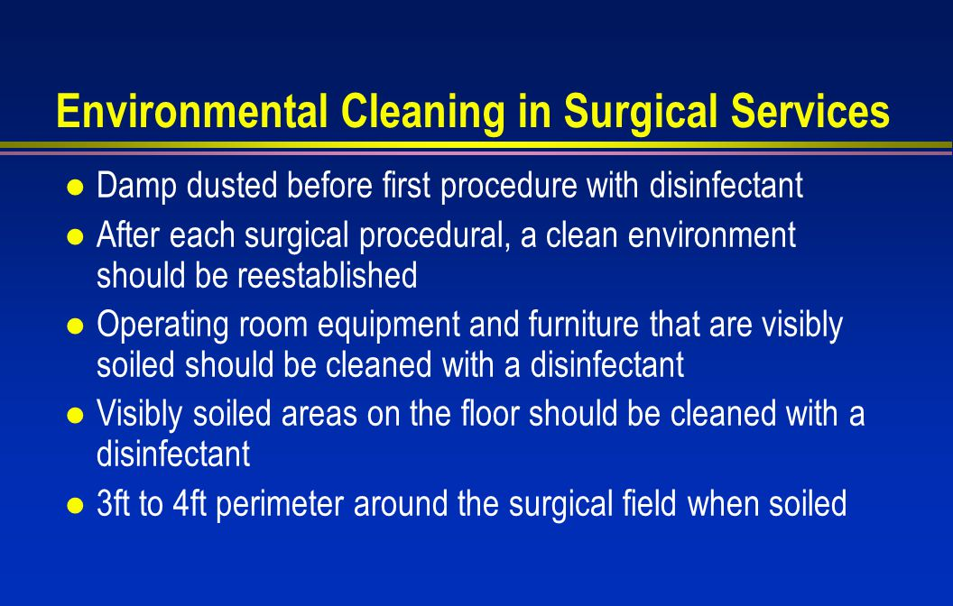 Environment Cleaning Services : Cleaning disinfection and sterilization meeting the cdc