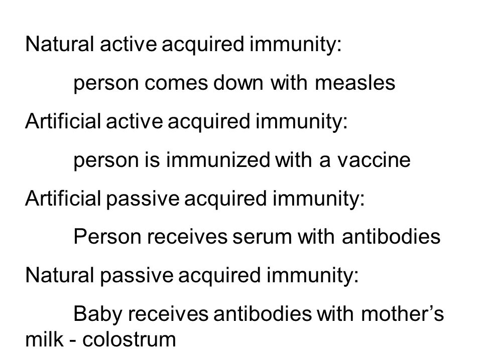 Natural active acquired immunity: