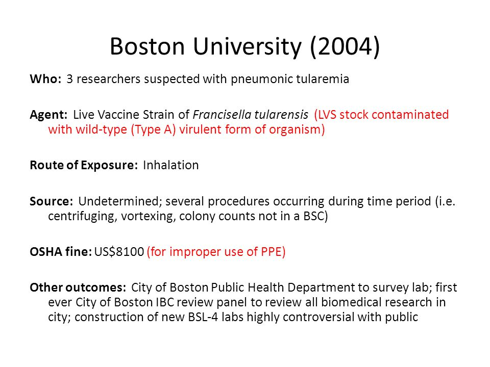 Boston University (2004) Who: 3 researchers suspected with pneumonic tularemia.