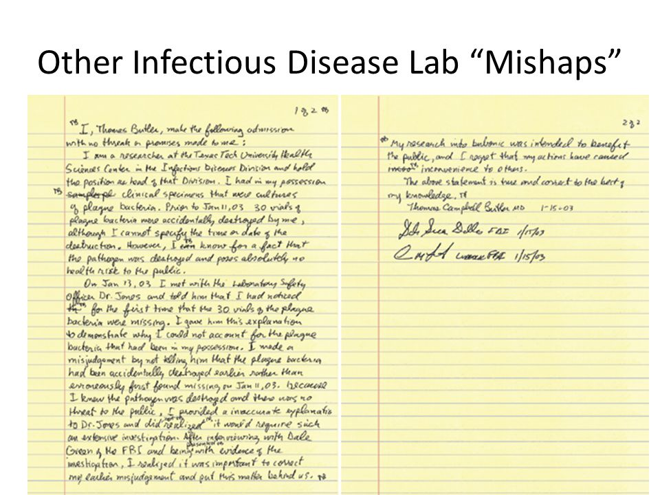 Other Infectious Disease Lab Mishaps