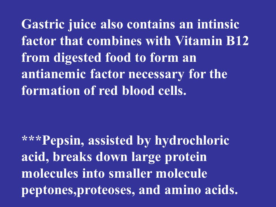 Gastric juice also contains an intinsic factor that combines with Vitamin B12 from digested food to form an antianemic factor necessary for the formation of red blood cells.