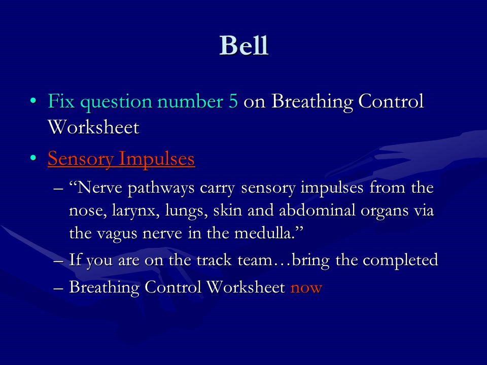 Bell Fix question number 5 on Breathing Control Worksheet
