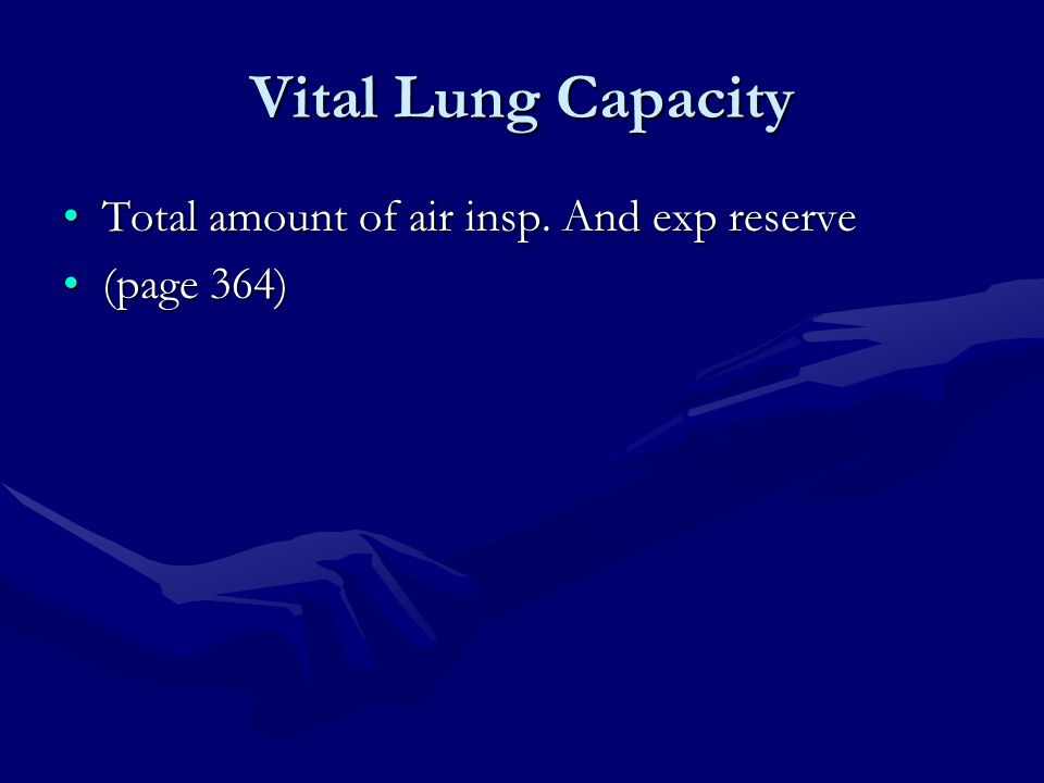 Vital Lung Capacity Total amount of air insp. And exp reserve