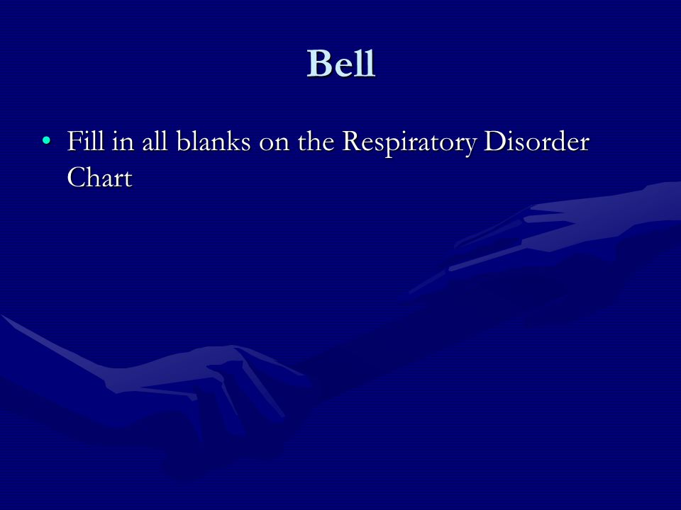 Bell Fill in all blanks on the Respiratory Disorder Chart