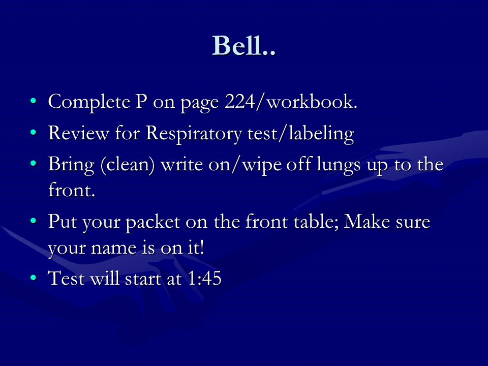 Bell.. Complete P on page 224/workbook.