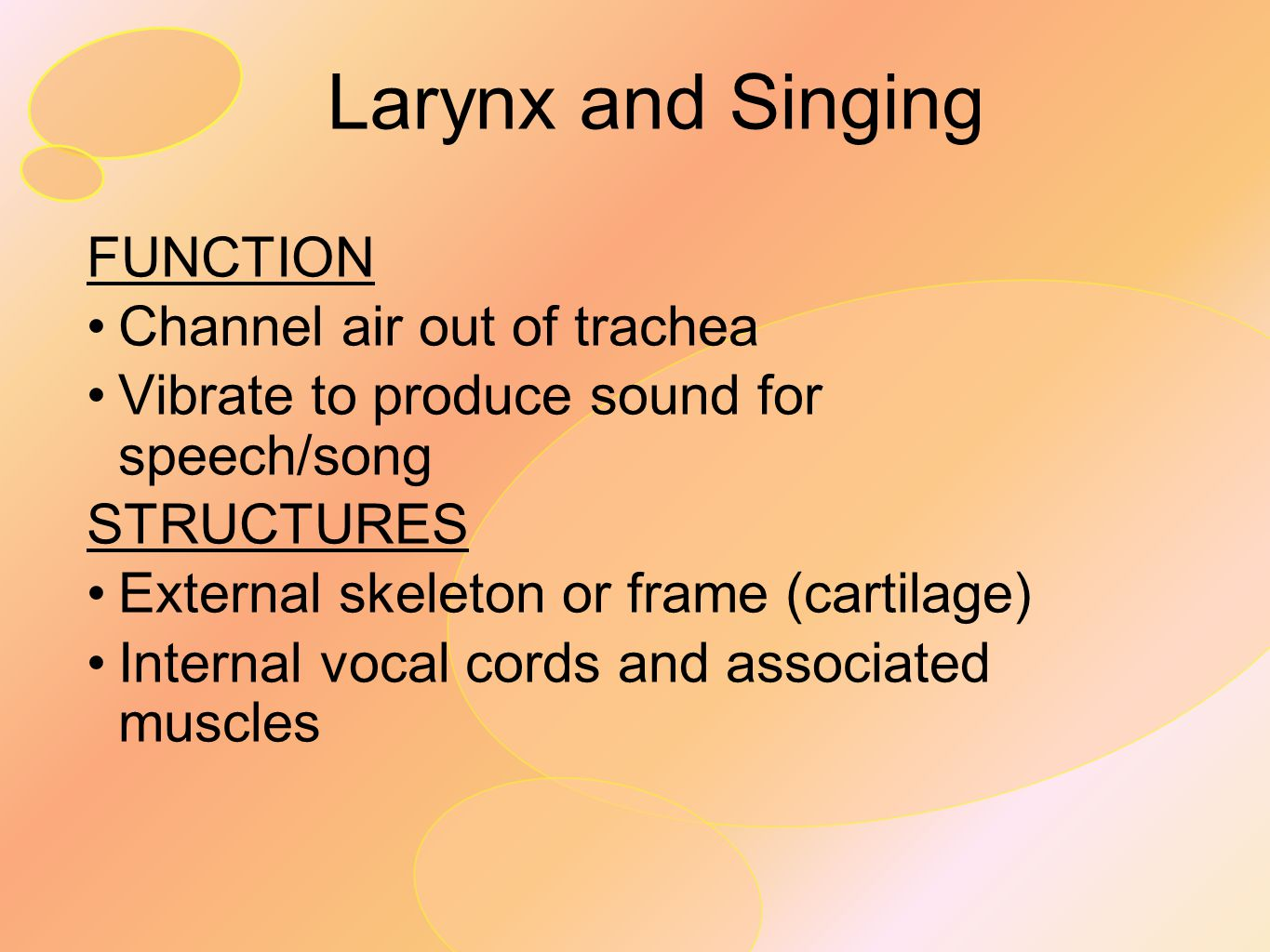 Larynx and Singing FUNCTION Channel air out of trachea