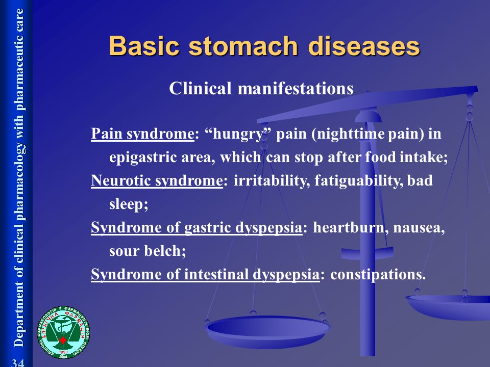 Basic stomach diseases Clinical manifestations