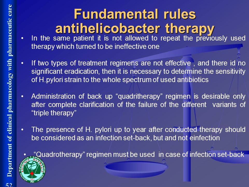 Fundamental rules antihelicobacter therapy