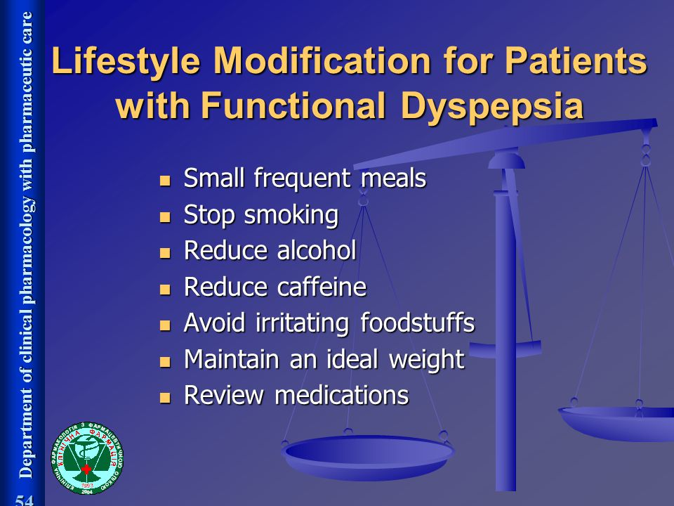 Lifestyle Modification for Patients with Functional Dyspepsia