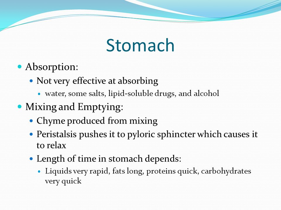 Stomach Absorption: Mixing and Emptying: