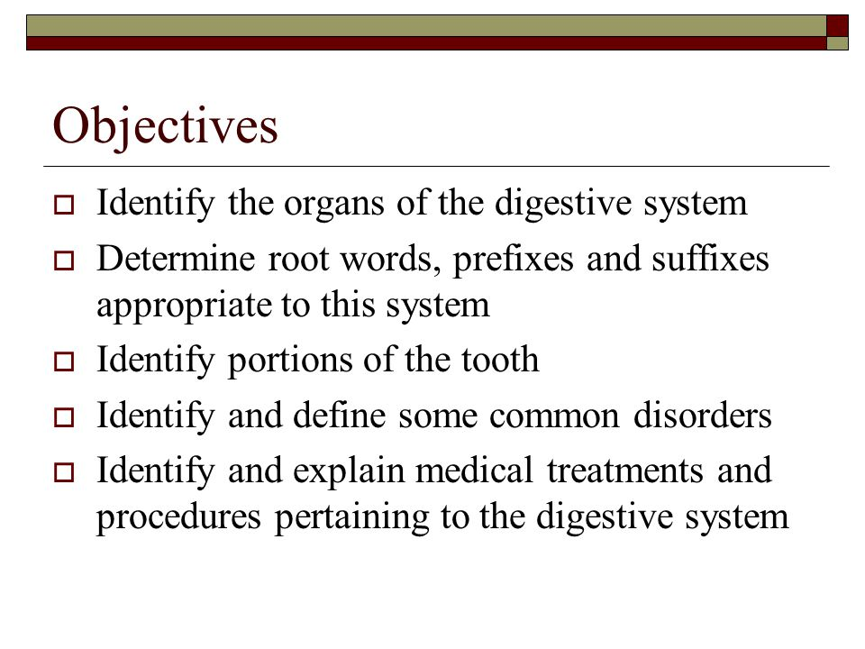 Objectives Identify the organs of the digestive system