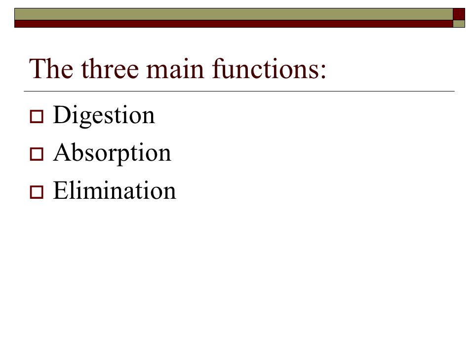 The three main functions:
