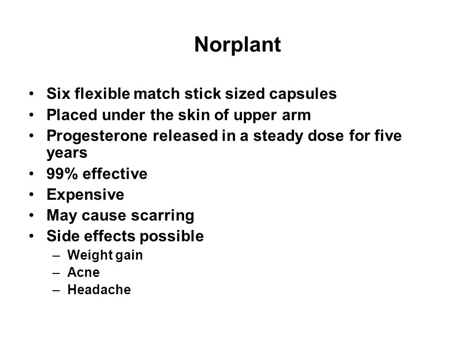 Norplant Six flexible match stick sized capsules