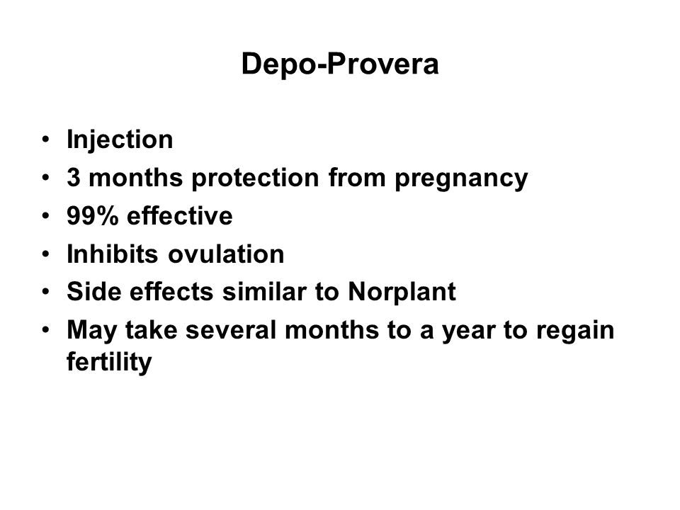 Depo-Provera Injection 3 months protection from pregnancy