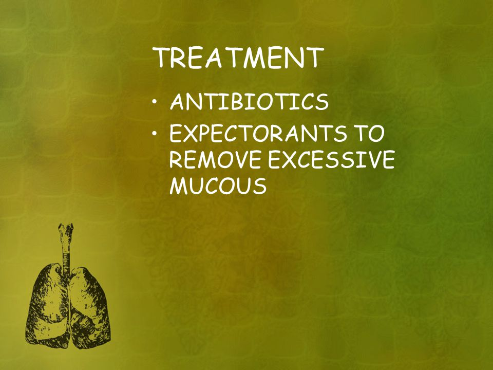 TREATMENT ANTIBIOTICS EXPECTORANTS TO REMOVE EXCESSIVE MUCOUS