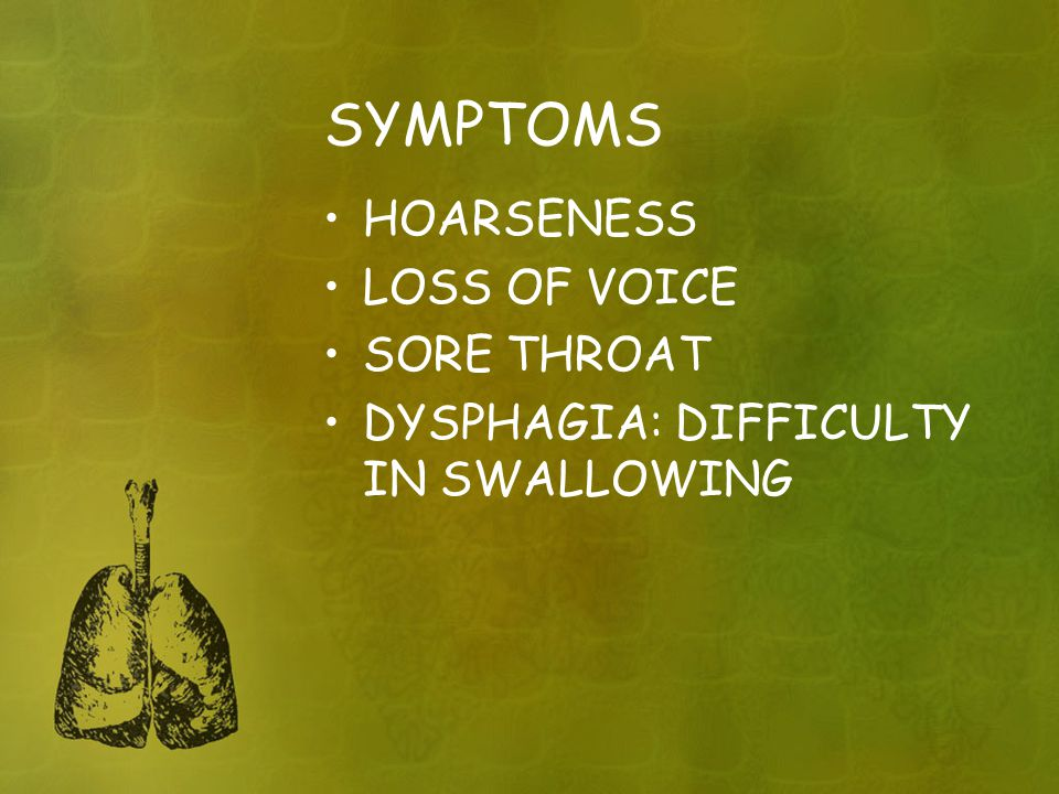 SYMPTOMS HOARSENESS LOSS OF VOICE SORE THROAT