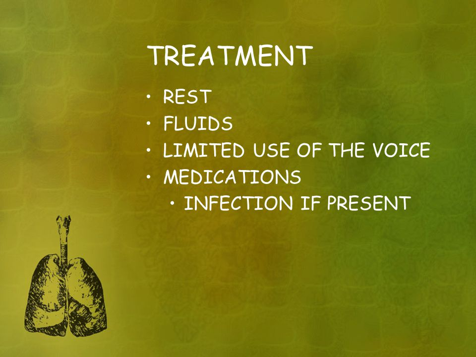 TREATMENT REST FLUIDS LIMITED USE OF THE VOICE MEDICATIONS