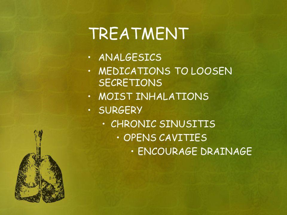 TREATMENT ANALGESICS MEDICATIONS TO LOOSEN SECRETIONS