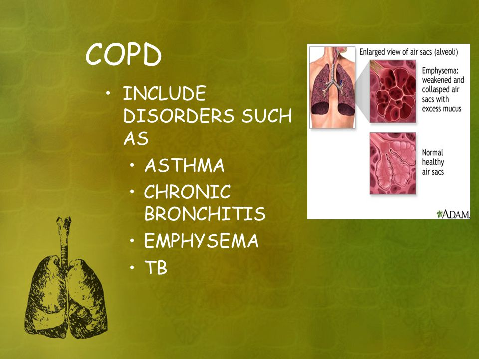 COPD INCLUDE DISORDERS SUCH AS ASTHMA CHRONIC BRONCHITIS EMPHYSEMA TB