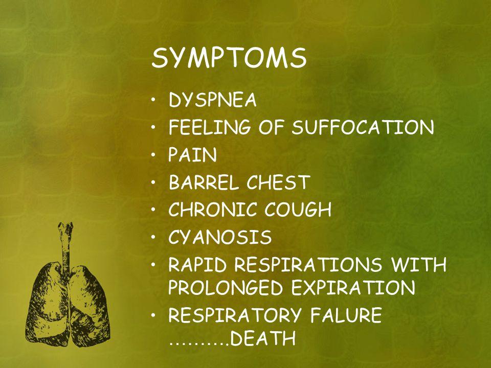 SYMPTOMS DYSPNEA FEELING OF SUFFOCATION PAIN BARREL CHEST