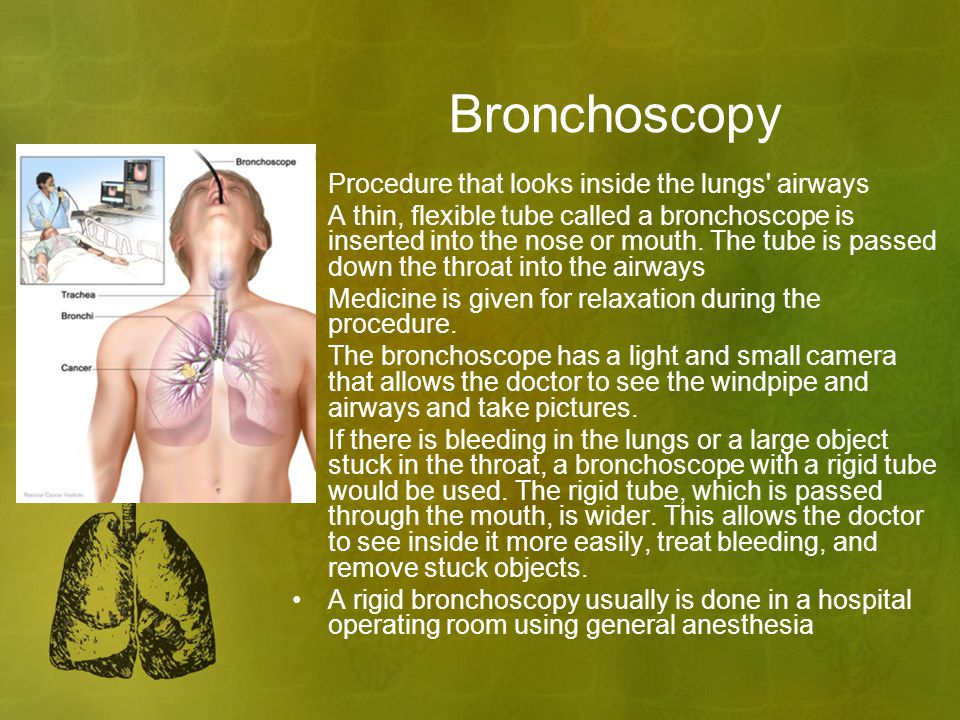 Bronchoscopy Procedure that looks inside the lungs airways