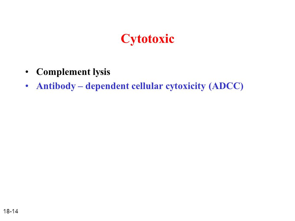Cytotoxic Complement lysis