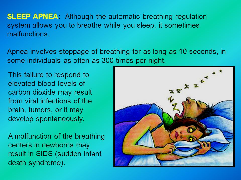 SLEEP APNEA: Although the automatic breathing regulation system allows you to breathe while you sleep, it sometimes malfunctions.