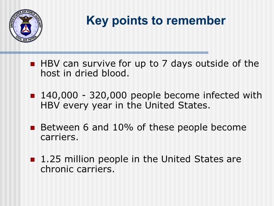 Key points to remember HBV can survive for up to 7 days outside of the host in dried blood.