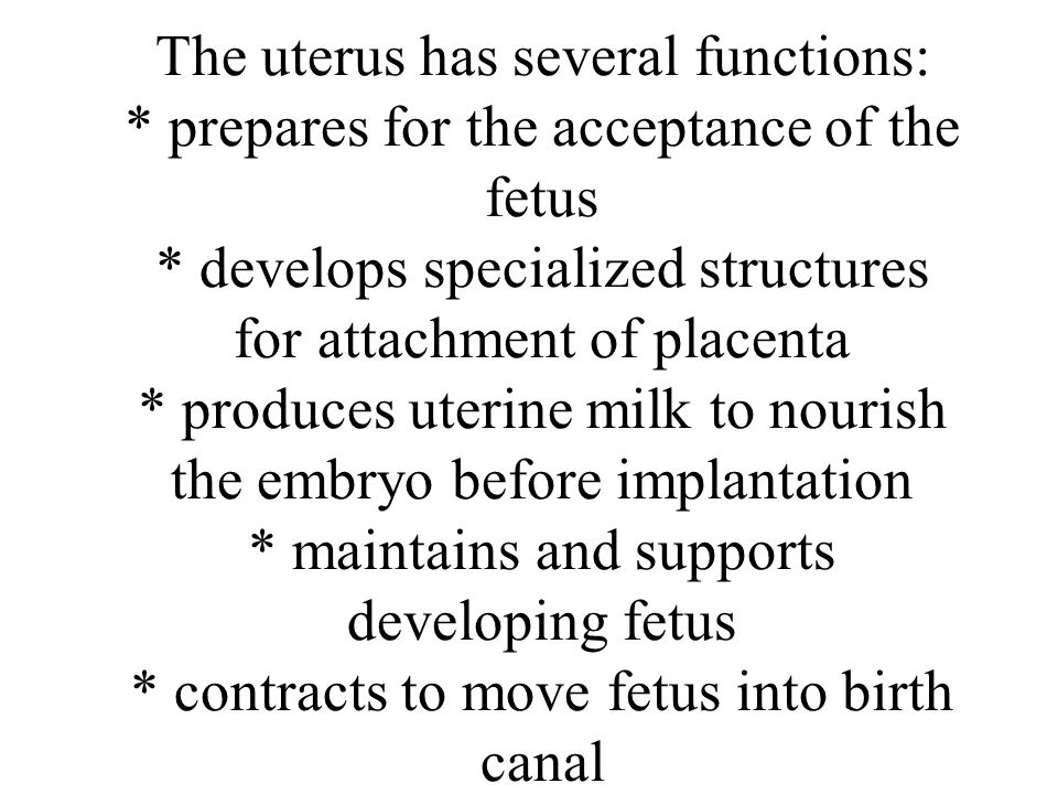 The uterus has several functions: