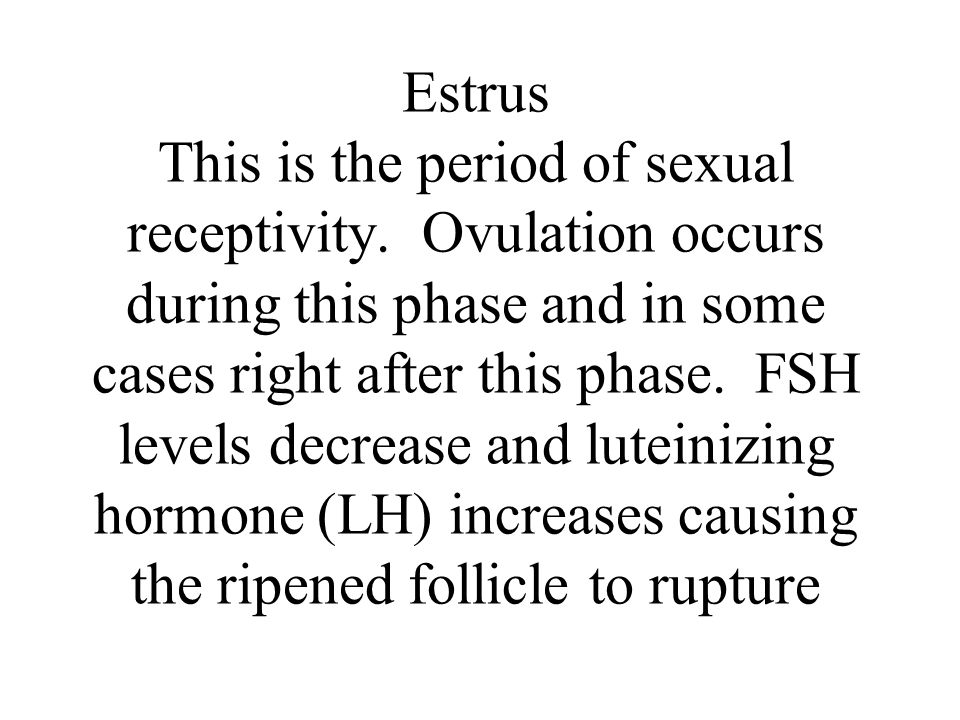 Estrus This is the period of sexual receptivity