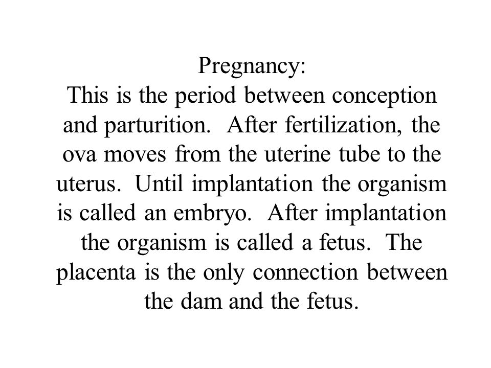 Pregnancy: This is the period between conception and parturition