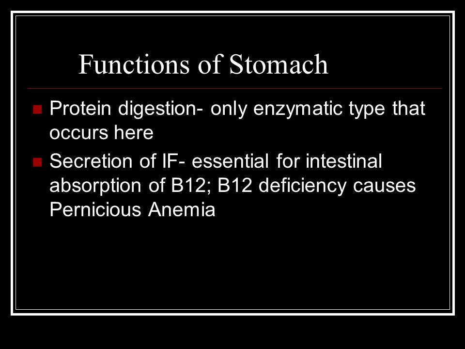 Functions of Stomach Protein digestion- only enzymatic type that occurs here.