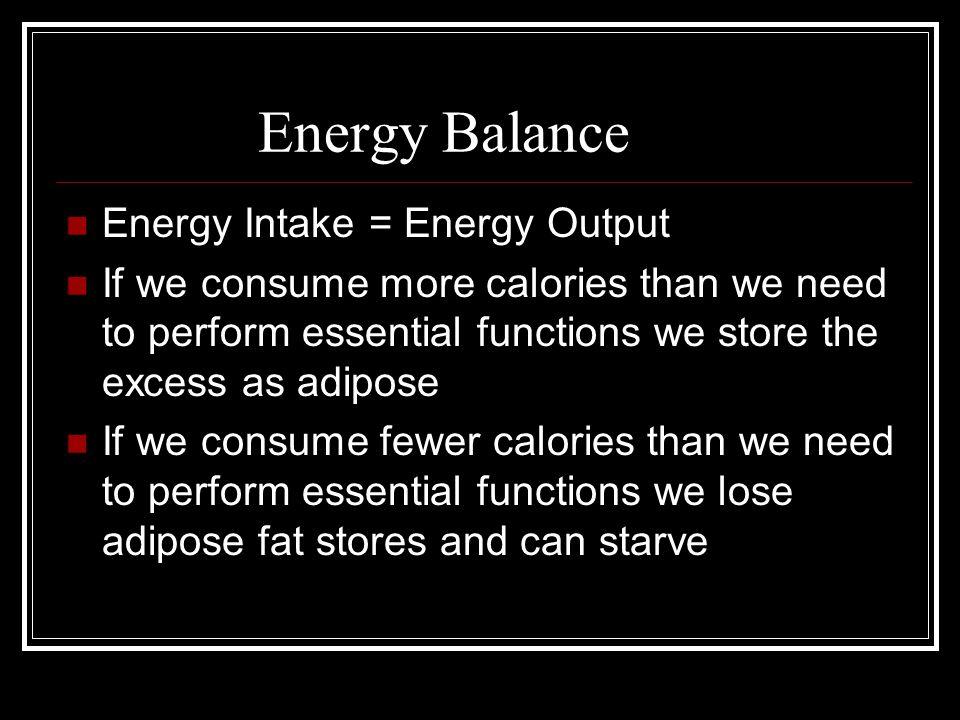 Energy Balance Energy Intake = Energy Output