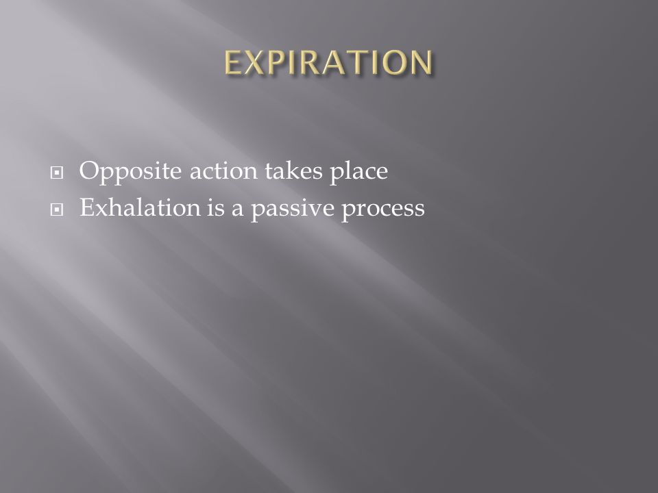 EXPIRATION Opposite action takes place Exhalation is a passive process