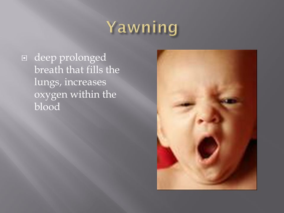 Yawning deep prolonged breath that fills the lungs, increases oxygen within the blood