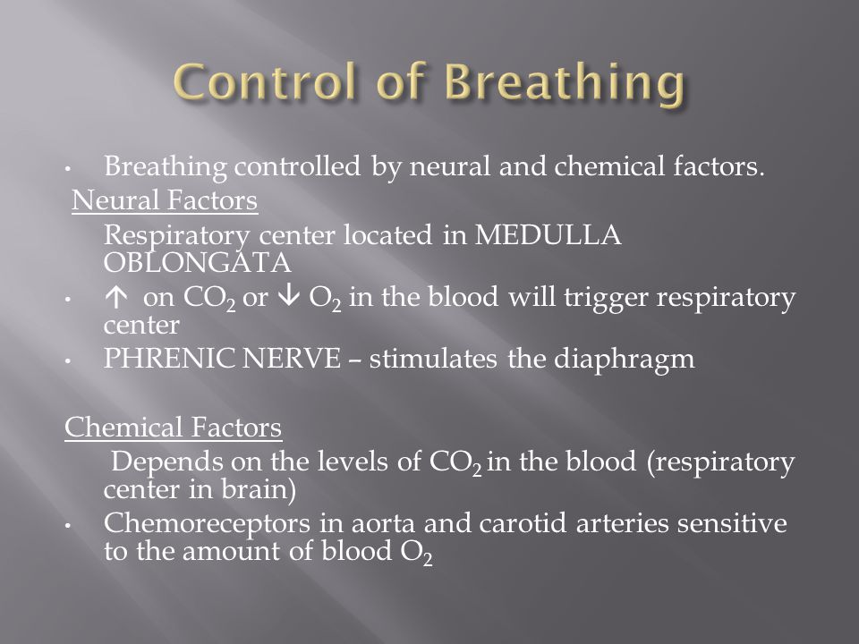 Control of Breathing Breathing controlled by neural and chemical factors. Neural Factors. Respiratory center located in MEDULLA OBLONGATA.