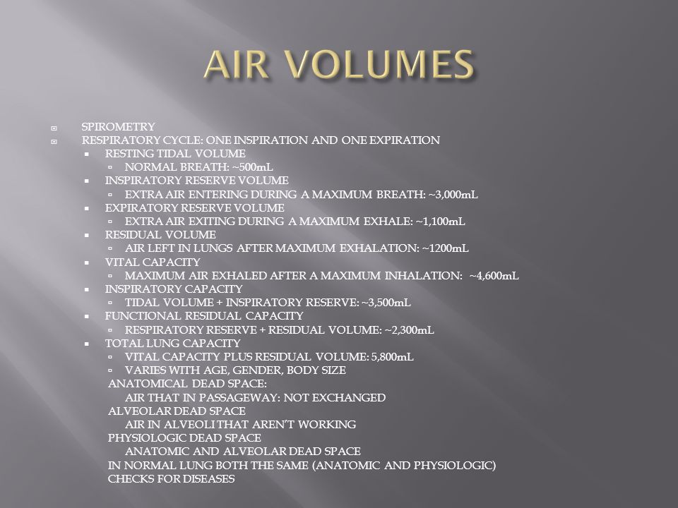 AIR VOLUMES SPIROMETRY