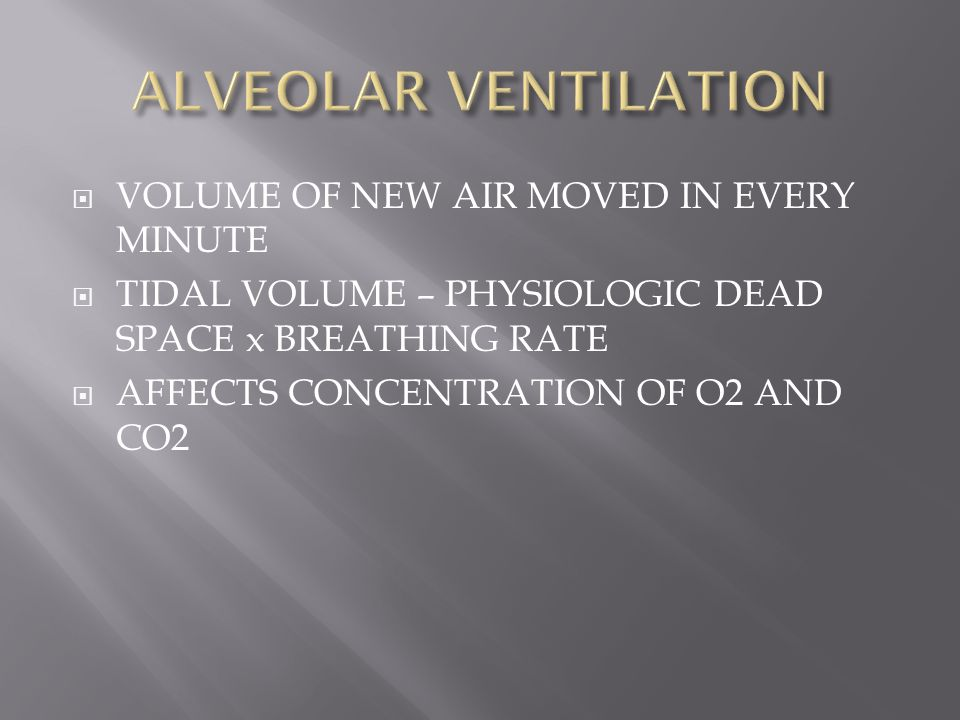 ALVEOLAR VENTILATION VOLUME OF NEW AIR MOVED IN EVERY MINUTE