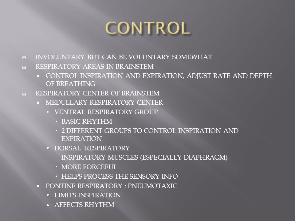 CONTROL INVOLUNTARY BUT CAN BE VOLUNTARY SOMEWHAT