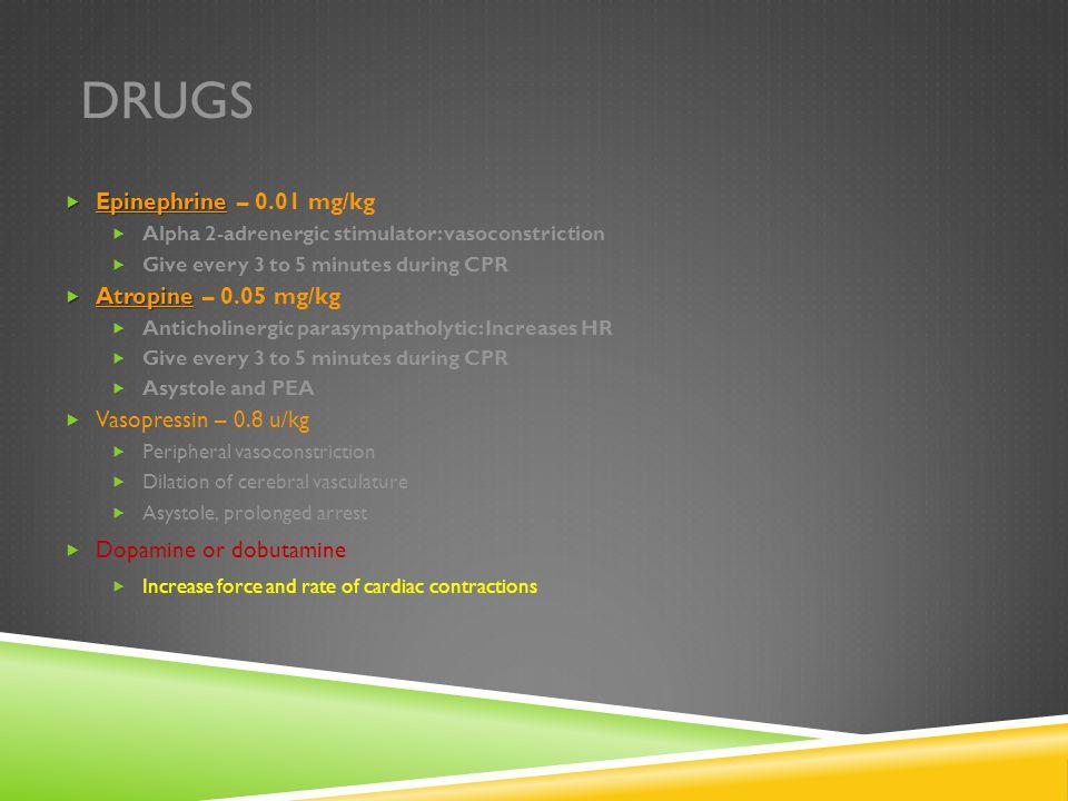 Drugs Epinephrine – 0.01 mg/kg Atropine – 0.05 mg/kg