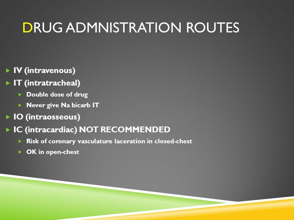 Drug admnistration routes