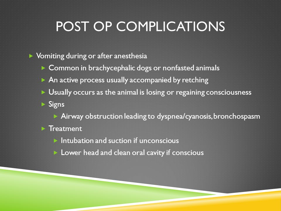 Post op complications Vomiting during or after anesthesia