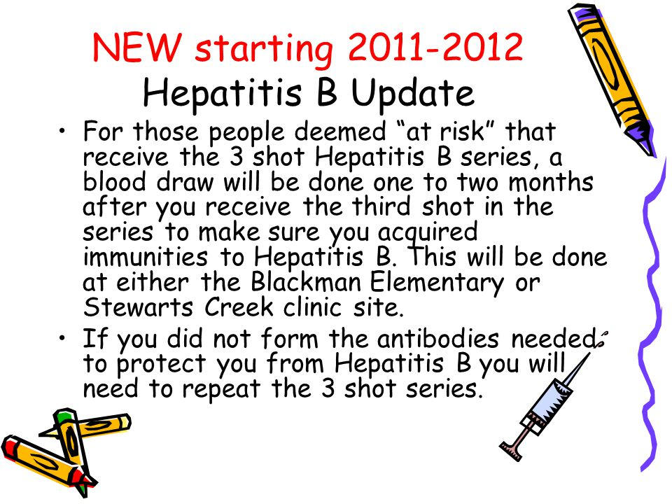 NEW starting 2011-2012 Hepatitis B Update