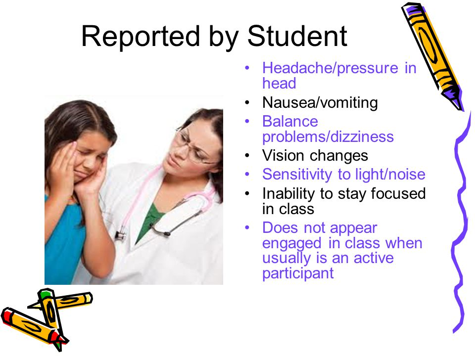 Reported by Student Headache/pressure in head Nausea/vomiting