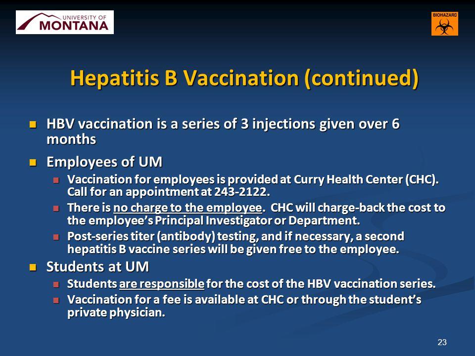 Hepatitis B Vaccination (continued)