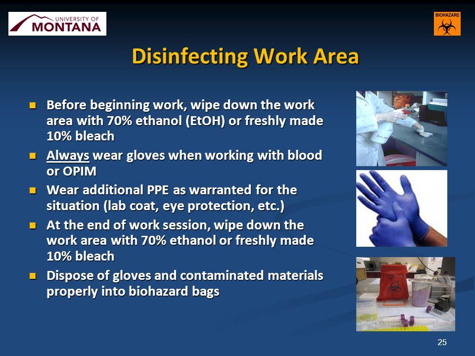 Disinfecting Work Area
