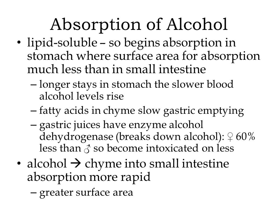Absorption of Alcohol lipid-soluble – so begins absorption in stomach where surface area for absorption much less than in small intestine.