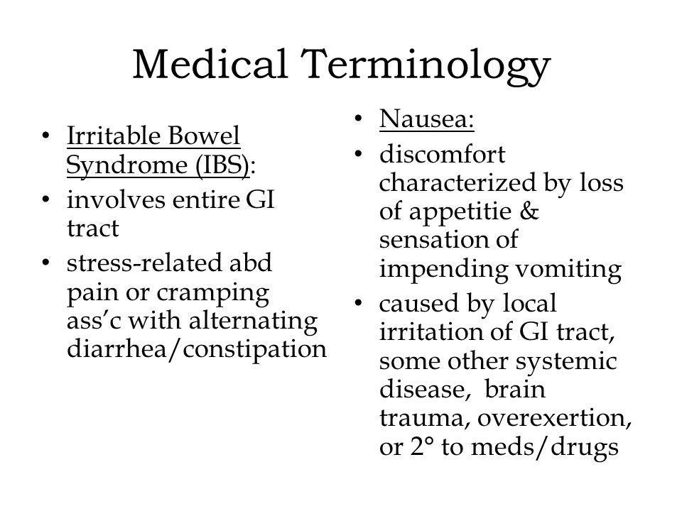 Medical Terminology Nausea: