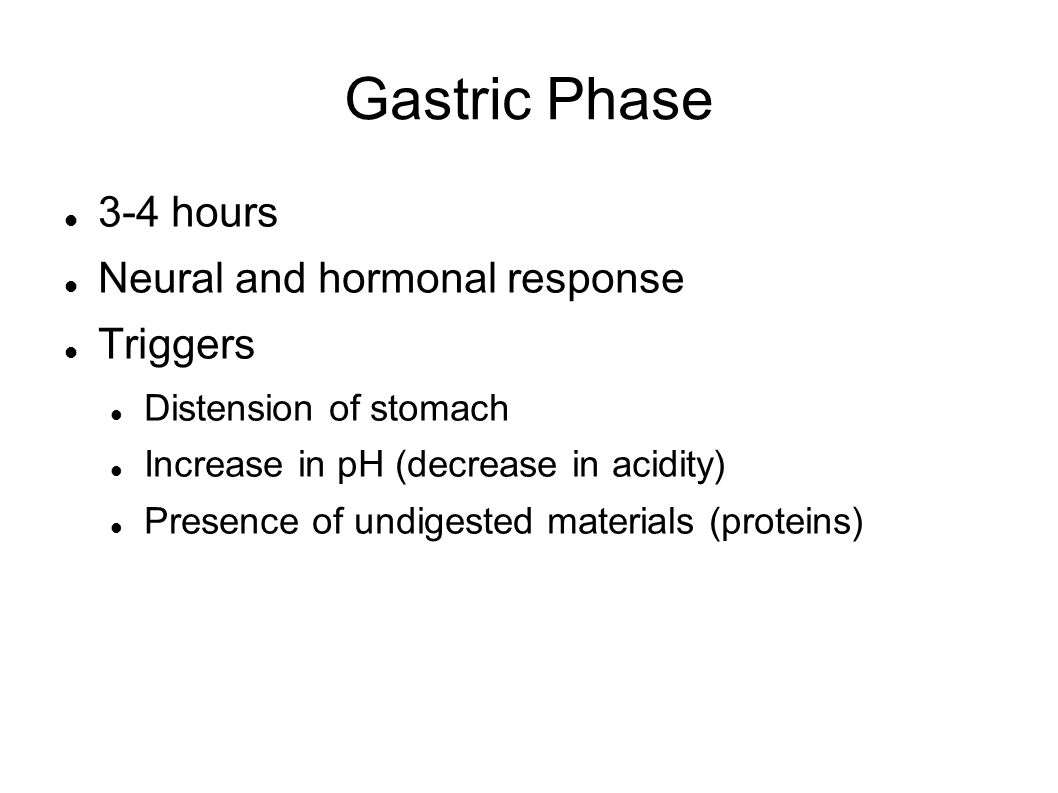 Gastric Phase 3-4 hours Neural and hormonal response Triggers